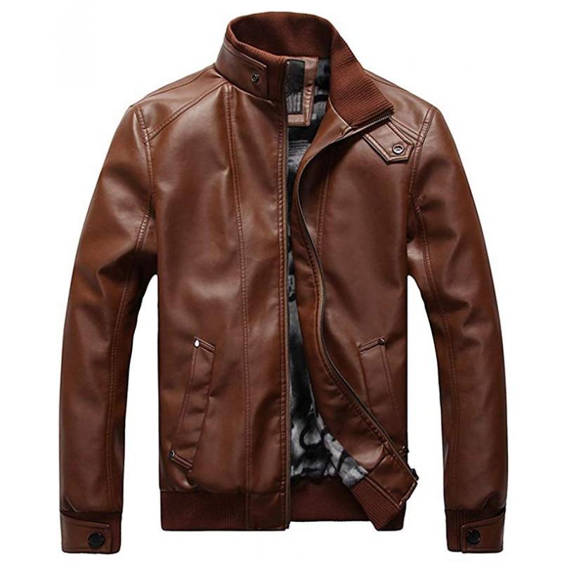 Men's Leisure PU Faux Leather Jacket Windbreaker Motor Jacket