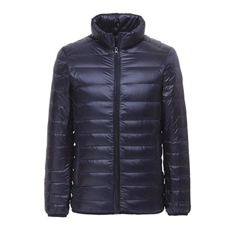 Men's Ultra Light Weight Stand Collar Packable Short Down Jacket