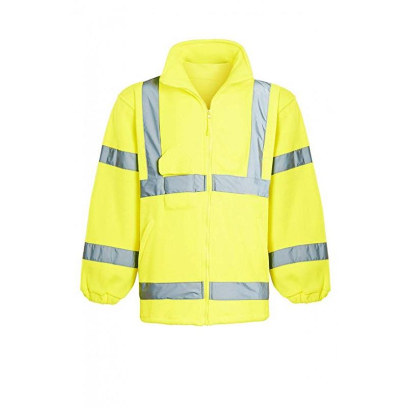 Mens Fleece Full Zip Warm 2 Side Reflective Workwear Comfortable Casual Sweat Jacket