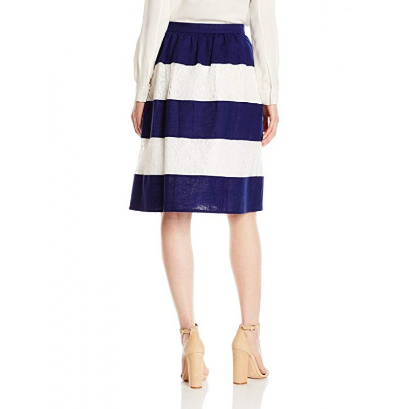 Women's Lace and Linen Stripe Skirt