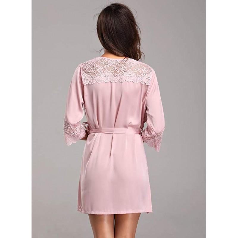 Women Short Silk Kimono Robe Lace Trim Satin Sleepwear Bridesmaids
