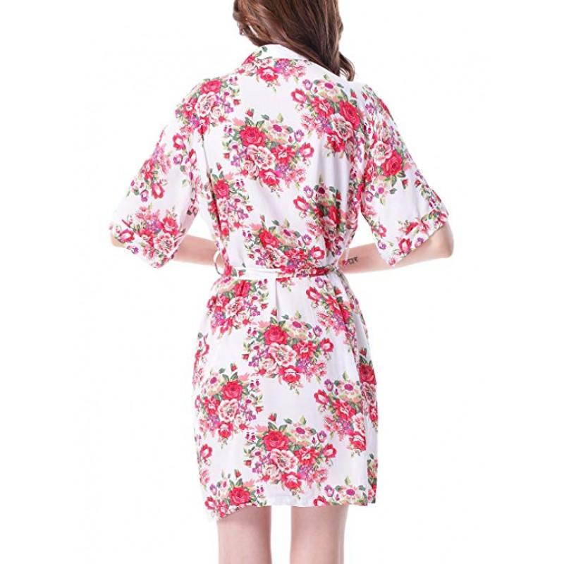 Floral Kimono Robe for Women Short Sleeve V Neck Belted Satin Bridal Sleepwear