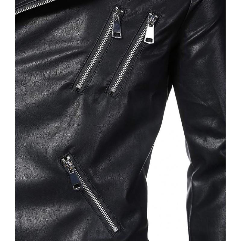 Men's Classic Faux-Leather Biker Zipper Jacket Coat